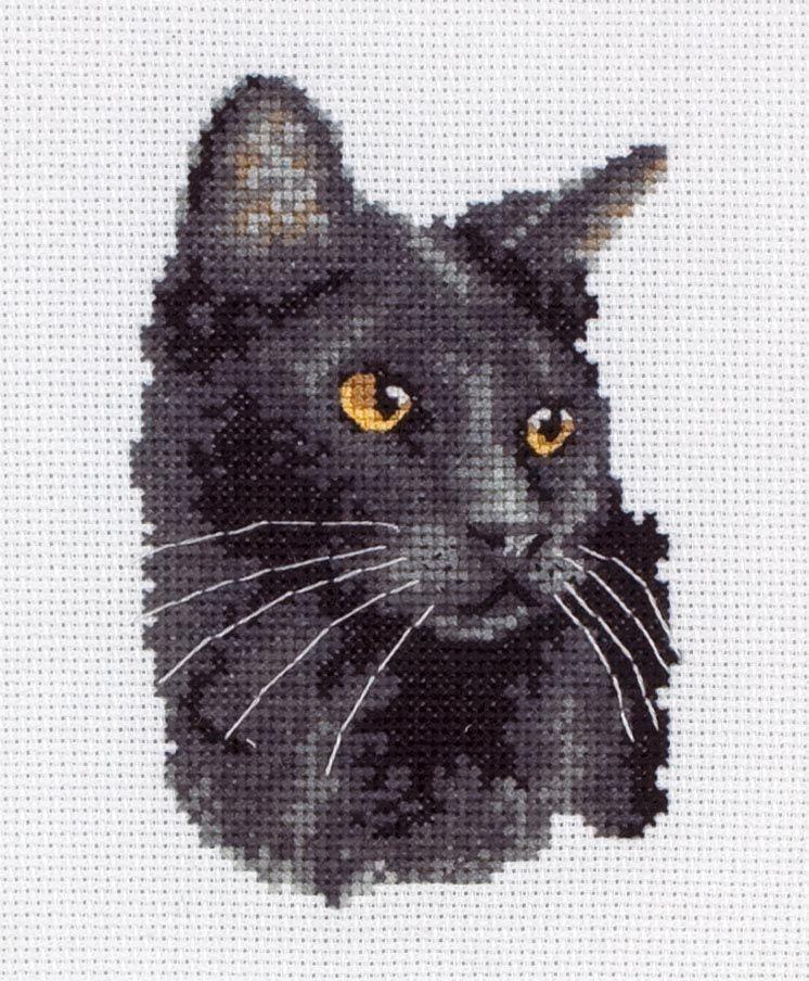 Вышивка крестом кошка черная 78